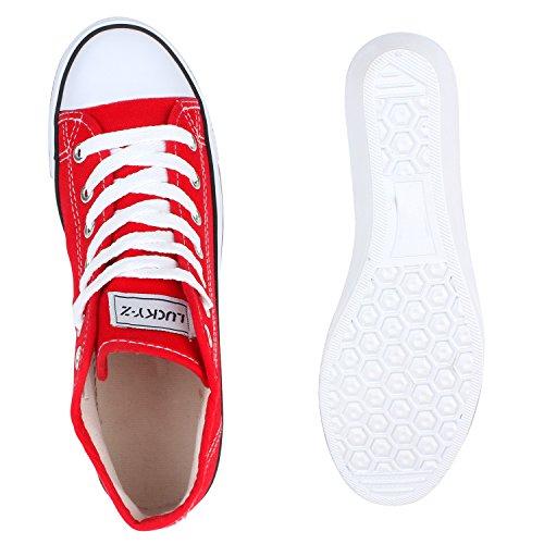 Damen Sneakers | Sneaker Wedges Spitze | Stoffschuhe Gr. 36-41 | Schuhe Keilabsatz Mehrfarbig Rot Weiss