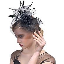 dressfan Elegante fiore a pois circolari rete maglia velo piuma fascinator  capelli clip fascia cappello matrimonio c1a7bd996788