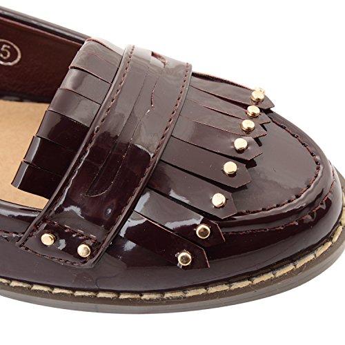 Damen Slipper Casual Dolcis Arbeitsplatz, Schule, Ballerinas Schuhe Größe Fransen Burgunderrot
