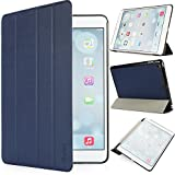 iHarbort® iPad Air Hülle - Premium PU Leder Tasche Hülle Etui Schutzhülle Ständer Smart Cover für iPad Air , mit Schlaf / Wach-up-Funktio, Dunkelblau
