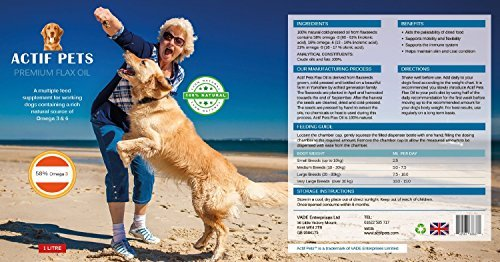 ACTIF PETS Flaxseed Oil for Dogs-Rich in Omega 3, 6 & 9 for Dry, Itchy Skin/Coat. A Natural Dog Supplement for Stiff… 7