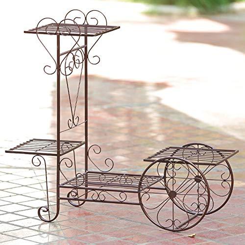 CCSUN Patio Cart Stand, 4 Stufen Eisen Gebogen Pflanze Stand Garten Blume Topf Blumenhalter Display Rack-braun 69×50cm -