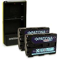 PATONA Dual Cargador + 2x Comfort Batería NP-FM500H para Sony DSLR-A200 A300 A350 A450 A500 A550 A560 A580 A700 A850 A900 ILCA-77M2 SLT-A57 A58 A65 A77 A99 con micro USB