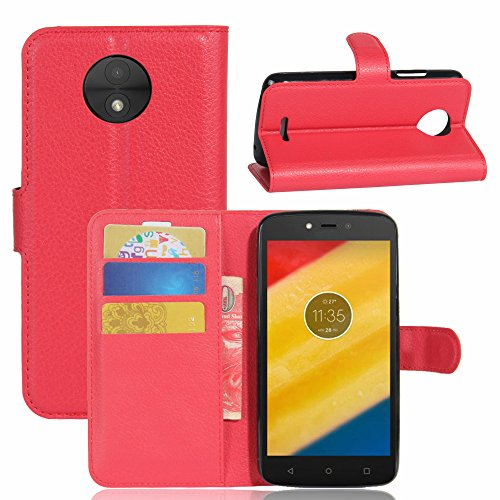 casefirst Motorola Moto C Wallet Case, Stylish Slim PU Leather Carry Case Stand and Card Holders Wallet Phone Cover Back case Protective Case for Motorola Moto C -Red Motorola Soft Leather Carry Case