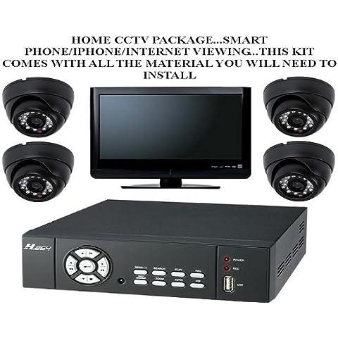 Tc39 - calidad 0,85 cm COLOR SONY SUPER HAD CCD 600TVL diseño antivandálico cámara de cúpula 4 uso en interiores y al aire libre cámara de seguridad CCTV con 250 GB H, 264 DVR