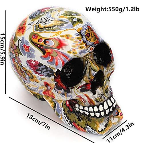 WanTo Vintage Halloween Harz Multicolor Schädel Modell Figuren Simulation Cranium Miniaturen Handwerk Raum Dekoration Zubehör, Schädel