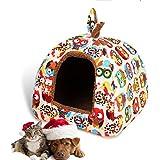 LA VIE Hundehöhle Katzenbett Kleines Haustier Hochwertig Haus & Sofa Hundehütte Gemütlich Plüsch Kennel für Hunde Katzen Welpen Eule S