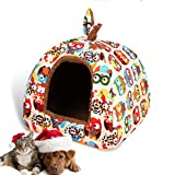 LA VIE Hianiquaime 2 in 1 Faltbar Cosy Plüsch Katzenhaus Weich Warm Hundehöhle mit Kissen Waschbar Süß Hundebett Kuschelhöhle Katzenbettchen für Kleine Mittel Katzen Welpen Hunde Kaninchen Eule M