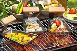 Grillpfännchen Grillpfanne Raclette ,,Gustico' 2-er Set Edelstahl/ Holz mit Griff