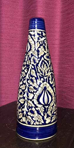 Handmade and hand decorated Crafted Khurja Pottery Red Desginer Ceramic Flower Pot or Flower Vase Use For Home & Office Decoration Qty-1 Made by Indian Rural Awarded Artisans -