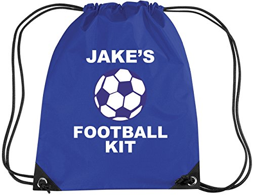 ROYAL BLUE PERSONALISED FOOTBALL KIT with name  Children s Gym PE Drawsting Bag  PLEASE GO TO ADD GIFT OPTIONS     ENTER NAME IN FREE GIFT MESSAGE SECTION   AND SAVE