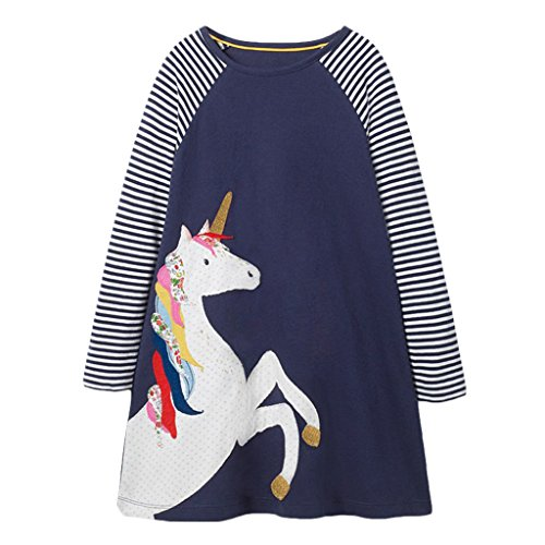 ndhalsausschnitt Langarm Casual Dress Cartoon Einhorn Applique T-Shirt Kleid , Marine , 4 Jahre (White Kinder-kleider)