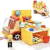 Nene Toys - Camion en Bois et Outils - Jouet Éducatif pour Fille et Garçon de 2 3 4 5 ans - Jeu de Construction et Atelier de Bricolage Méthode Montessori - Idéal comme Cadeau STEM et Didactique