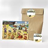 16 Einladungskarten, 16 Geschenktüten und 16 Etiketten zum Kindergeburtstag - Motiv Piraten Einladung - Geburtstagseinladungen Party