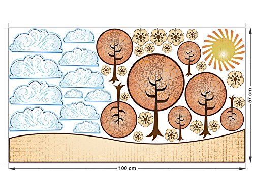 wall-sticker-sticker-set-per-alberi-viventi-nuvole-fiori-sole-100x57cm