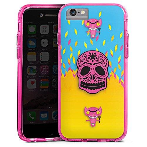 Apple iPhone 6s Bumper Hülle Bumper Case Glitzer Hülle Teufel Devil Hell Bumper Case transparent pink