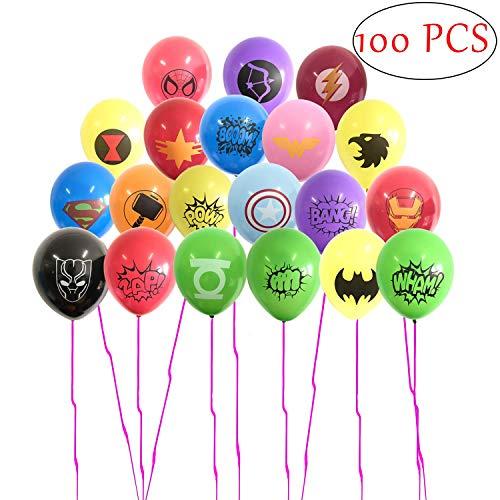 SHANFAA Paquete de 100 Globos de superhéroes, artículos para la Fiesta de superhéroes, la Fiesta de cumpleaños temática de superhéroes favorece Las Decoraciones, 30CM Globos de látex (20 Estilos)