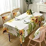 DW&HX Baumwolle und leinen Sonnenblume Tischdecke, Floral Bedruckt Knitterfrei Tischschutz Rechteckige Tee tischdecke Für ESS Tisch Schreibtisch Küche -Sonnenblume 130x220cm(51x87inch)