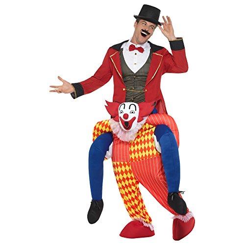 Oramics Clown Kostüm Huckepack, Verkleidung Einteiler mit Beinen One Size