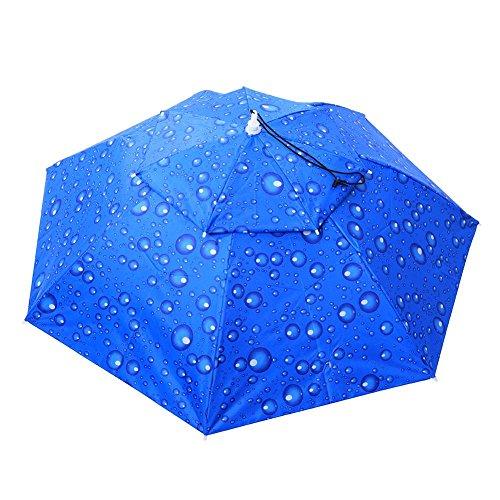 Broadroot Regenschirm Hat 2Ebene Faltbar Winddicht mit Kopfbedeckungen Cap Praktische Regenschirm Gap für Klettern Neuheit mit Kopfbedeckungen für Festival Ein Witz Geschenk Einheitsgröße Blau (Outlet-ebene)