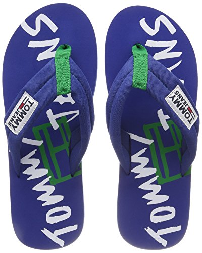 Hilfiger Denim Herren TJ Graphic Print Beach Sandal Zehentrenner, Blau (Monaco Blue 408), 42 EU