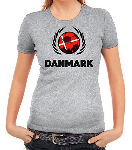 ShirtStreet Denmark Wappen Soccer Fussball WM Fanfest Gruppen Fan Wappen Damen T-Shirt Fußball Dänemark Graumeliert