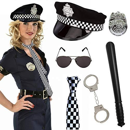 Kostüm Frauen Männer Und - SPECOOL 6pcs Polizei Kostüm für Party mit Polizeimütze, Abzeichen, Krawatte, Spielzeughandschellen, Plastikstab, Schwarzer Brille für Kinder Männer Frauen