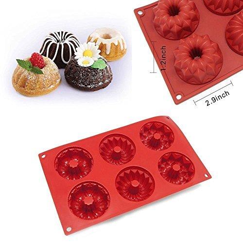 6Mulden Silikon Form Mini-Gugelhupfe Moule à Savarin démontable Kuchen Muffin Schokolade Backform Form