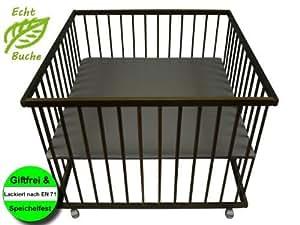 Sämann Kindermöbel - HL-LB 100 - Parc pour bébé hêtre brun foncé 100x100