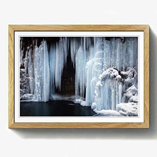 BIG Box Art Landschaft Frozen Wasserfall Print mit schwarzem Rahmen, Mehrfarbig, Größe A2, 24,5x 18_ P, Holz, Eiche, 24.5 x 18-Inch/A2 -