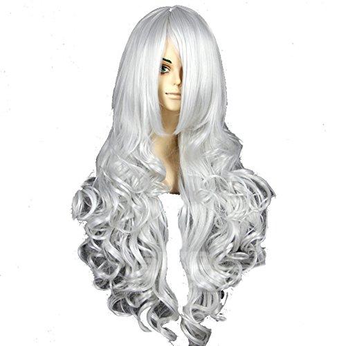 ig Silber Lange Wellig Lockig Haar Hair Cosplay Kostüm Zubehör Costume Accessories (Black Cat Spiderman Halloween-kostüm)