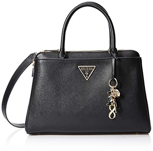 Guess Damen Maddy Girlfriend Satchel Shopper, Weiß (Black), 34.5x24.5x14 centimeters