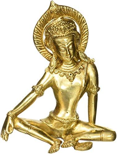 ShalinIndia Arte Metal Latón Tara Estatua De Buda sentado decoración del hogar budista regalos H: 7cm, peso: 1,5kg