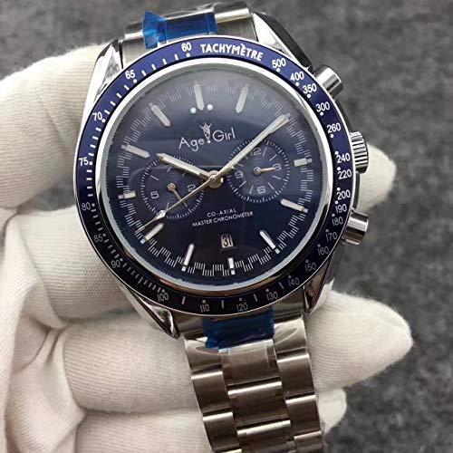 ZCCZJBXS Luxury Men Automatic Mechanical MoonWatch Stainless Steel Speed Black Blue Leather Ceramic Bezel Watches Dark Side AAA 3