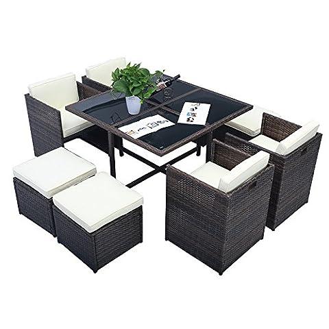 MCTECH® Poly Rattan Gartengarnitur Sitzgruppe Sofa Garnitur Polyrattan Gartenmöbel Essgruppe inkl. Glas und Sitzkissen 8+1 teilige (Braun Type B mit Platz Tabelle)