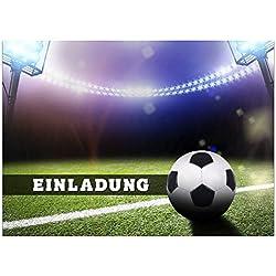16 Einladungskarten zum Kindergeburtstag - Thema Fussball Einladung - für Kinder, Jungen, Party, Feier, Jungs, Geburtstagseinladungen im Set