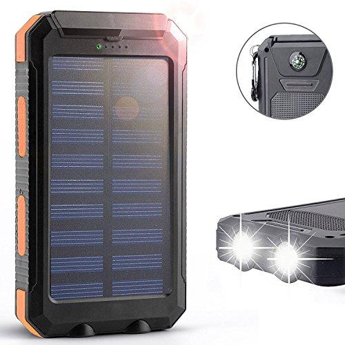 Chargeur solaire, Tagital® Solar Power Bank 12000mAh Pack de batterie de secours double USB chargeur de panneau solaire avec 2LED Lumière Mousqueton Boussole d'urgence Portable pour le camping de voyage