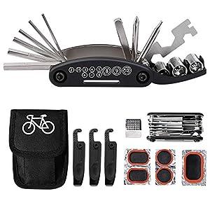 51kcN3NhNsL. SS300 Tagvo Kit attrezzi per bici, 16 in 1 attrezzo multifunzione da bici con kit di patch e leve del pneumatico, kit di…