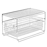 EZOWare Organizer Cabinet Mesh Sliding Drawer Basket For Bathroom, Office, Cabinet, Countertop, Pantry, Under the Sink, and Kitchen - Silver