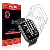 MASCHERI Kompatibel mit Apple Watch 42mm / 44mm Schutzfolie, [6 Stück] Nass Installation Displayschutz Folie Für Apple Watch Serie 4/3/2/1