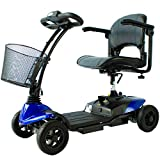 Mobiclinic, Scooter eléctrico minusválido, 4 ruedas, Para adultos, Desmontable, Manillar plegable, Auton. 10 km, 12V, Azul, Virgo