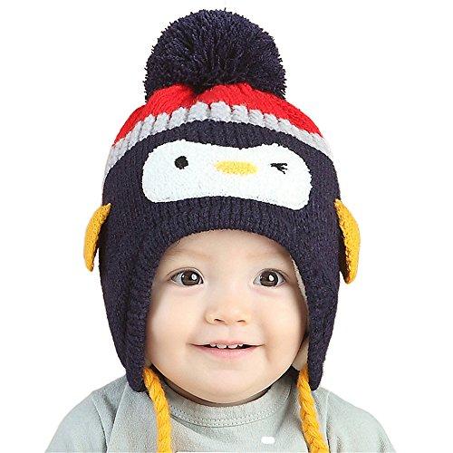 Cappellino cappello berretto bambine ragazzi ragazze bambini invernale caldo a maglia pinguino blu b