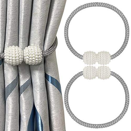 Junnom Vorhang Raffhalter Magnetisch, 2 Stück Vorhanghalter Magnet Elegante Perlenperle Vorhang Holdbacks Gardinenklammern mit Starken Magnet für Heimtextilien(Stil2,Silber