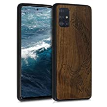 kwmobile Wooden Case Compatible with Samsung Galaxy A51 - TPU Bumper - Waves Dark Brown