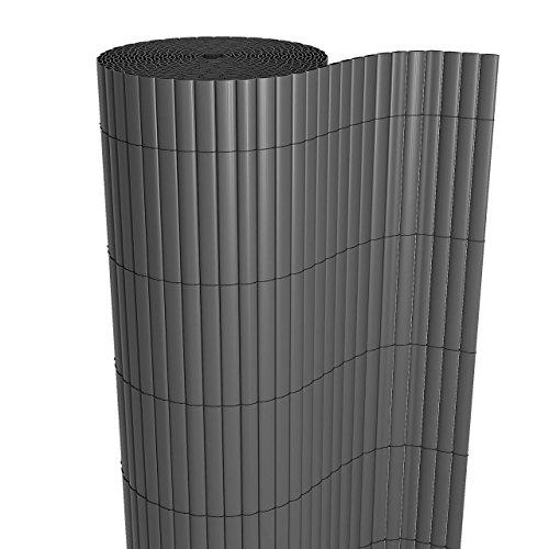 Homelux Sichtschutzmatte Windschutz Balkonverkleidung Garten Blende PVC Zaun UV-Resistent Wetterfest Schnelltrocknend 80 x 500 cm Farbe: GRAU