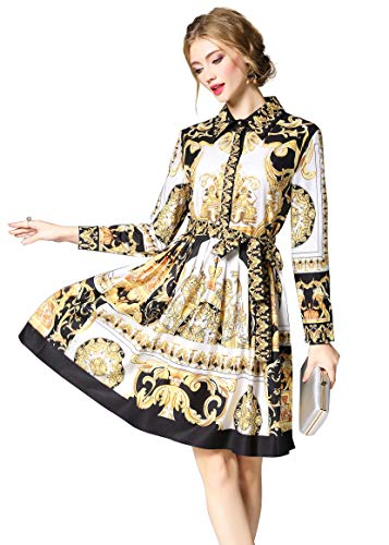 A-linie Lange Ärmel (LAI&MENG Damen 3/4-Arm/Lange Ärmel Hemdkleider mit Blumenmuster Knopfleiste Vorne Casual A-Linie Kleid)