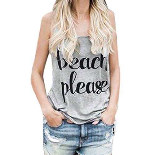 VENMO Frauen Crop Weste Drucken Sie Brief Sleeveless Tank Tops Bluse Sommer Sleeveless Weste Top Strappy Cami Sport Fitness Weste Sleeveless Blusen Beiläufige Yoga Tank Tops T-Shirt (Sexy Gray, M) (Baumwolle Kabel Damen)