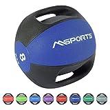 MSPORTS Medizinball Premium mit Griffe 1 - 10 kg - Professionelle Studio-Qualität Gymnastikbälle...