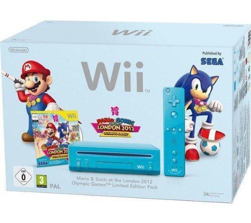 Spielkonsole Wii blau + Spiel Mario & Sonic bei den Olympischen Spielen in London 2012 + 1 Fernbedienung Wii Plus blau + 1 Nunchuk blau + Wii Motion Plus - Weiß + Nunchuk Controller