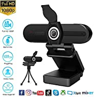 Webcam 1080P with Microphone,HD USB Webcam for Laptop Desktop PC,External Video Conference Camera with Privacy